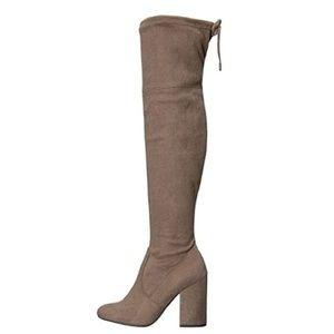 2e8efc904ab Steve Madden Shoes - Steve Madden Niela Taupe Over The Knee Boots 9